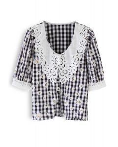 Daisy Print Gingham Button Down Top