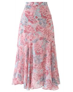 Abstract Rose Print Frilling Chiffon Midi Skirt in Pink