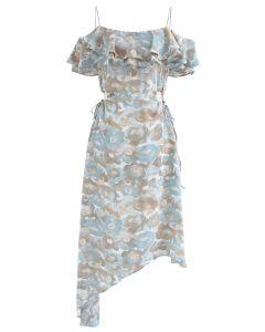 Floral Asymmetric Cold-Shoulder Dress