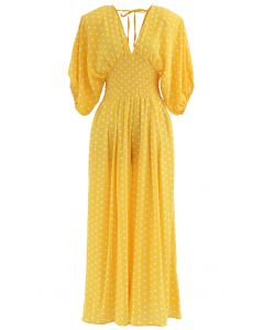 Dot Print Plunging Neck Shirred Wide-Leg Jumpsuit in Yellow