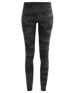 Camouflage High-Rise Fitted Ankle-Length Leggings in Smoke