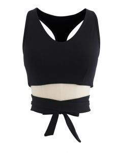 Bowknot I-Shaped Back Low-Impact Sports Bra in Black