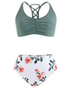 Lace-Up Ruched Floral Print High-Waisted Bikini Set
