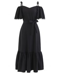 Cold-Shoulder Flare Sleeves Frill Hem Dress in Black