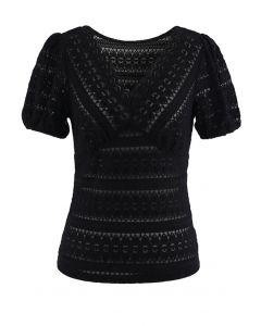 V-Neck Full Lace Neutral Black Top