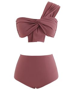 Sweet Knot One-Shoulder Bikini Set in Rust Red