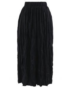 Black Velvet Pleated A-Line Midi Skirt in Black