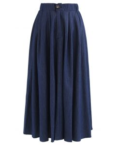 Daily Buttoned A-Line Midi Skirt in Navy