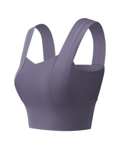 Strappy Seam Detail Medium-Impact Sports Bra in Purple