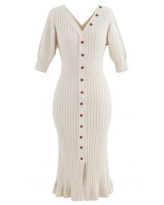 V-Neck Ruffle Button Trim Ribbed Knit Midi Dress in Cream