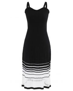 Striped Mesh Spliced Hem Knit Cami Dress in Black
