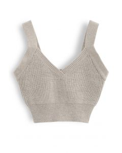 V-Neck Crop Knit Tank Top in Sand