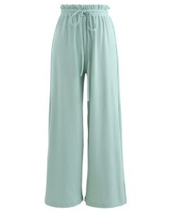 Drawstring Paper-Bag Waist Ribbed Yoga Pants in Mint