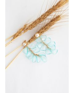 Pearl with Plastic Petal Drop Earrings in Blue