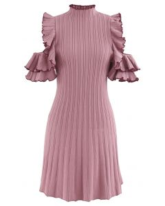 Ruffle Cold Shoulder Ribbed Knit Dress in Pink