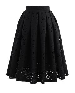 Floral Cutwork Jacquard Midi Skirt in Black
