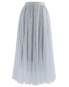 Sunflower Lace Mesh Tulle Midi Skirt in Dusty Blue