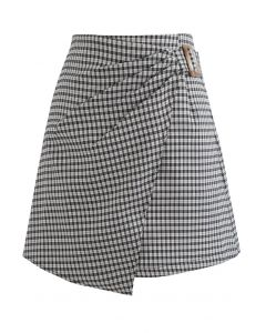 Side Ruched Belt Asymmetric Mini Skirt in Gingham