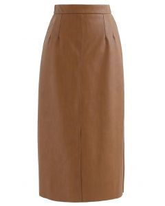 Vent Hem Faux Leather Pencil Skirt in Caramel