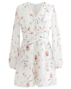 Button Trim Floral Crochet Chiffon Playsuit in White
