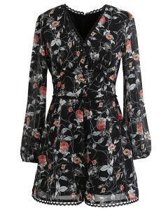 Button Trim Floral Crochet Chiffon Playsuit in Black