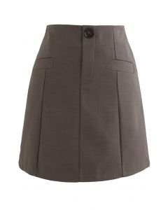 Pocket Embellishment Bud Skirt in Brown