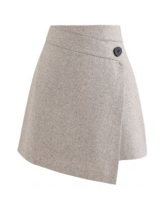 Button Flap Wool-Blended Mini Skirt in Light Tan
