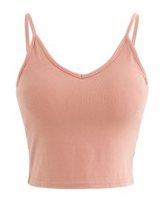 Cropped Rib Cami Tank Top in Peach
