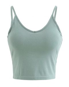 Cropped Rib Cami Tank Top in Green