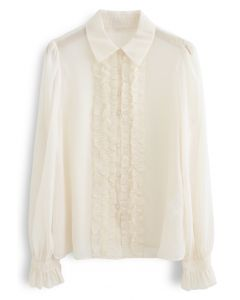Button Down Ruffle Trim Semi-Sheer Shirt