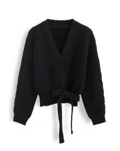 Wrap Bowknot Chunky Knit Sweater in Black