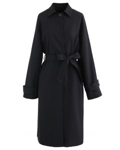 One Button Belted Longline Pocket Coat