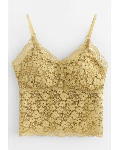 Lace Crop Tank Top in Yellow