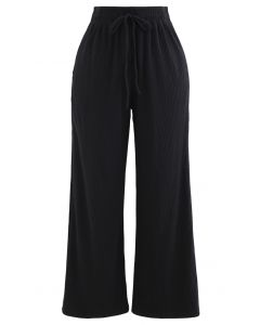 Cropped Wide-Leg Drawstring Knit Pants in Black