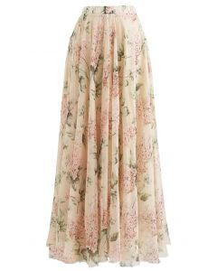 Blooming Hyacinth Watercolor Maxi Skirt