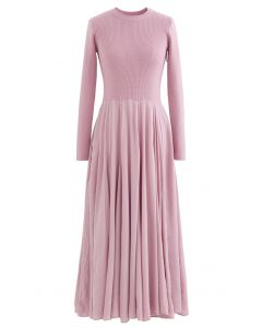 Knit Spliced Long Sleeves Maxi Dress in Pink