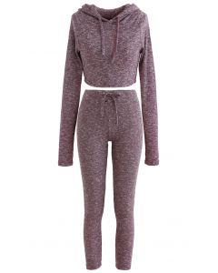 Knit Hooded Crop Top and Leggings Set in Plum