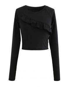 Ruffle Front Cropped Sports Top in Black