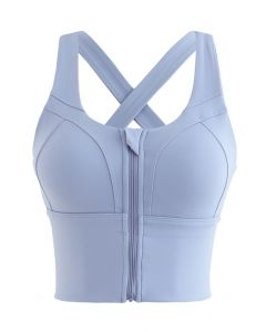 Cross Back Zipper Front Panelled Sports Bra in Lavender