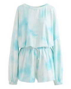 Blue Tie Dye Loose Sweatshirt and Shorts Set