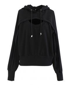 Spliced Cutout Hooded Cropped Sweatshirt in Black