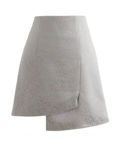 Embroidered Lines Asymmetric Mini Skirt