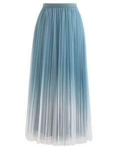 Gradient Double-Layered Mesh Tulle Skirt in Turquoise