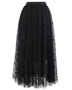 3D Clover Double-Layered Mesh Midi Skirt in Black