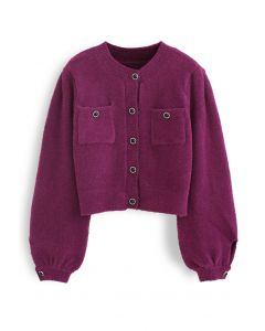 Fluffy Button Down Pocket Knit Cardigan in Berry