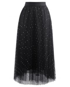 Glitter Dots Double-Layered Pleated Tulle Mesh Skirt in Black