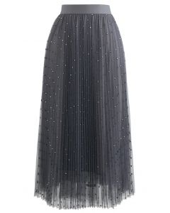 Glitter Dots Double-Layered Pleated Tulle Mesh Skirt in Smoke
