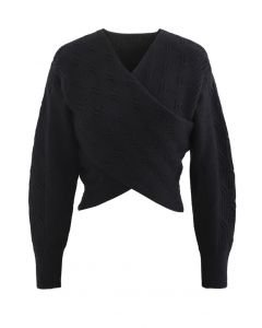 Crisscross Crop Ribbed Knit Sweater in Black