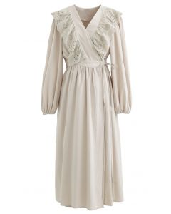Eyelet Ruffle Front Wrap Long Sleeves Dress in Linen