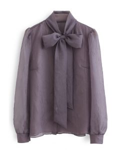Sheer Bowknot Button Down Shirt in Purple